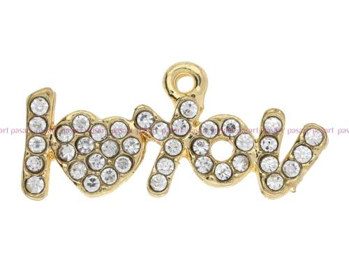 I love You Glamm™/ zawieszka charms / 39 cyrkonii / 12x25x2.5mm / KC Gold / 1szt